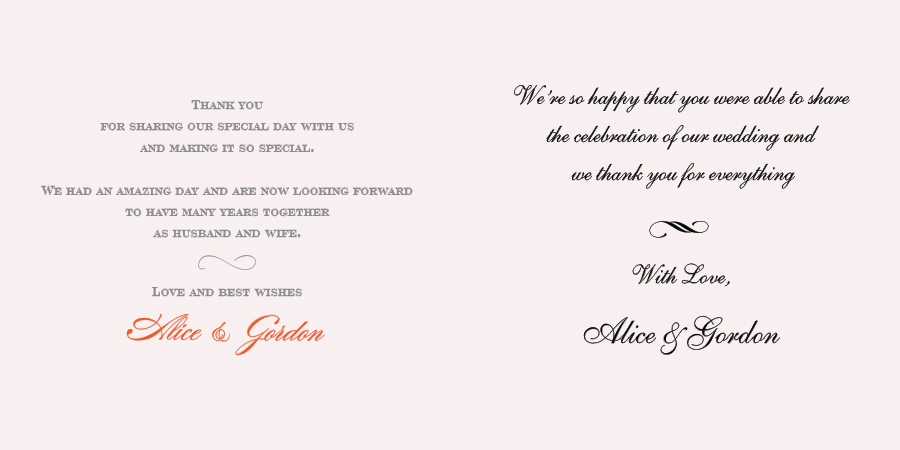 Wedding Wording For The Thank You Card